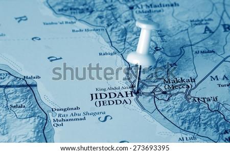 Jiddah  destination in the map - stock photo