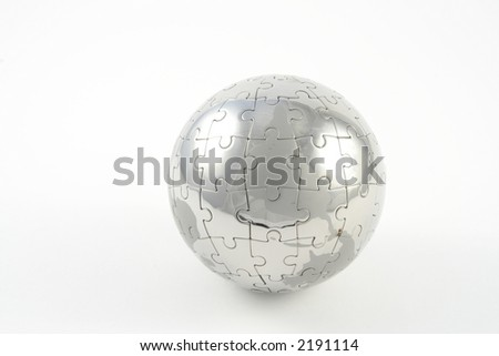 Jigsaw globe against a white background