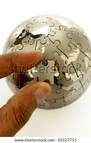 Jigsaw globe puzzle - stock photo
