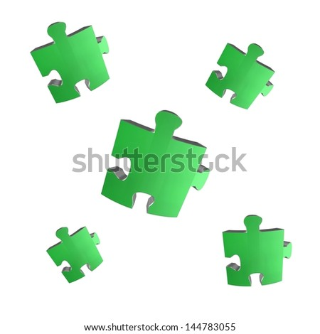 Jigsaw illustrations isolated against a white background