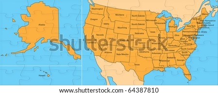 Jigsaw map of united states. including alaska and hawaii