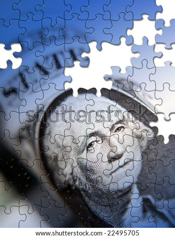 Jigsaw pattern applied to  American dollar note - stock photo