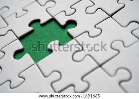 Jigsaw pattern with one green element