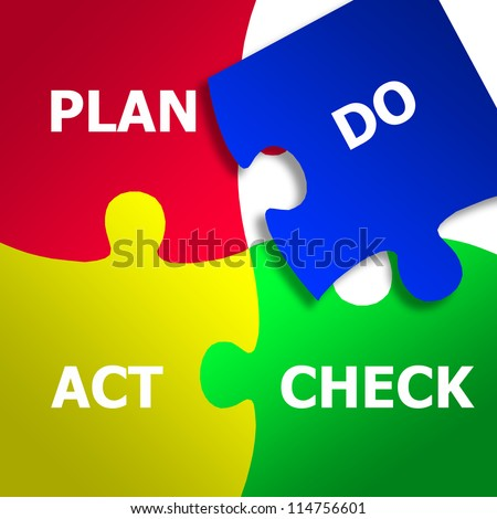 Jigsaw PDCA (Plan Do Check Act) - stock photo