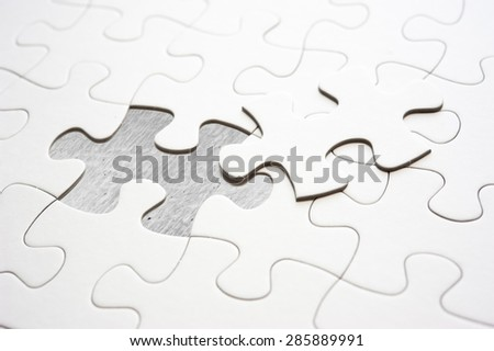 Jigsaw piece fill in blank, conceptual image - stock photo