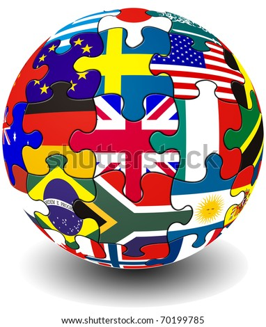 Jigsaw piece flag globe - stock photo