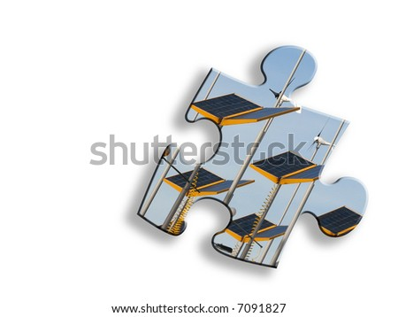 Jigsaw piece of solar panels on white with drop shadow