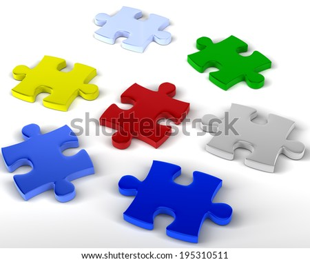 Jigsaw Pieces Multicolored jigsaw pieces unlinked - stock photo