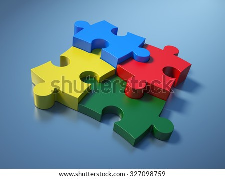 Jigsaw Pieces on Blue Background - High Quality 3D Render