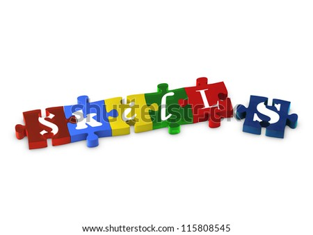 Jigsaw pieces spelling out SKILLS - stock photo