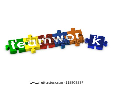 Jigsaw pieces spelling out TEAMWORK - stock photo