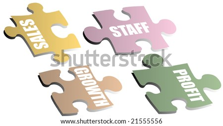 Jigsaw pieces with a drop shadow showing a business metaphor - stock photo