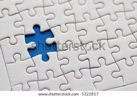 Jigsaw Puzzle Abstract Background - stock photo