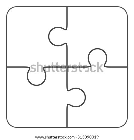 Jigsaw Puzzle Vector Blank Simple Template Stock Vector