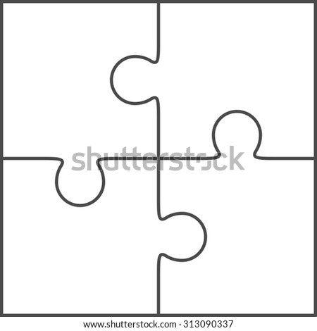 Jigsaw Puzzle Blank Simple Template 2x2 Four Pieces