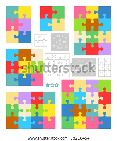 Jigsaw puzzle blank templates and colorful patterns ( for vector EPS see image 58218451 )