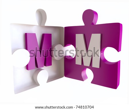 M Alphabet In 3d Jigsaw Puzzle Book With Alphabet  Letter M in 3D - stock photo