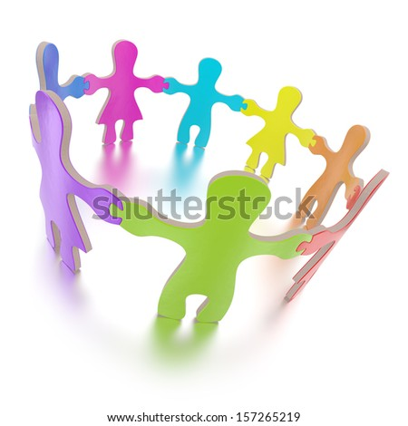 Jigsaw puzzle children standing in a circle on white background. Computer generated image with clipping path - stock photo