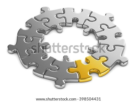 Jigsaw puzzle circle on a white background