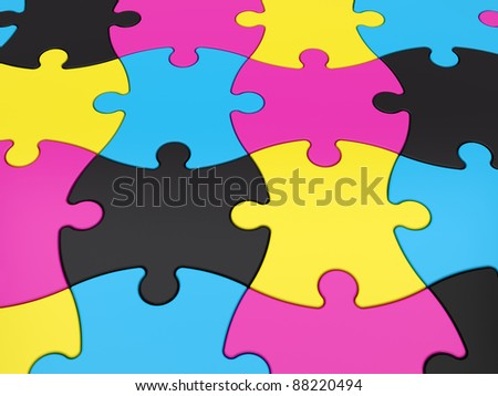 Jigsaw Puzzle CMYK Pieces - stock photo