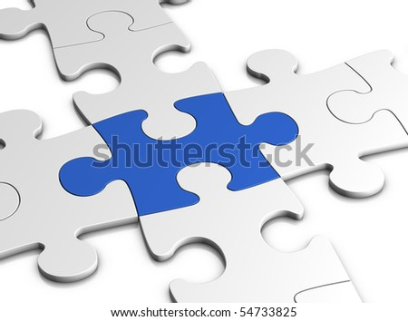 jigsaw puzzle concept - isolated on white - 3d illustration - stock photo