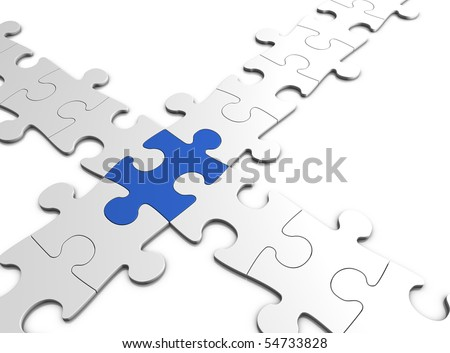 jigsaw puzzle concept - isolated on white - 3d illustration