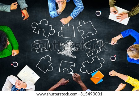 Jigsaw Puzzle Connection Corporate Teamwork Concept - stock photo