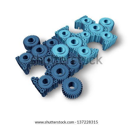 Jigsaw puzzle connections business concept as a network partnership for communication between two groups of teams as three dimensional gears and cogs shaped as pieces from puzzles connected together. - stock photo