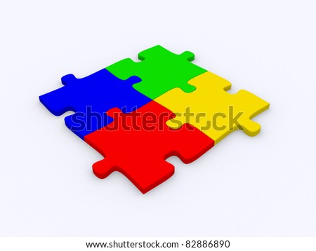 Jigsaw puzzle: 3d icon isolated on white - stock photo