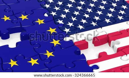 Jigsaw puzzle, flag of EU and flag of USA - stock photo