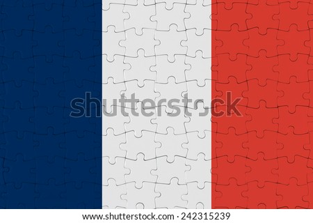 Jigsaw Puzzle Flag of France - stock photo