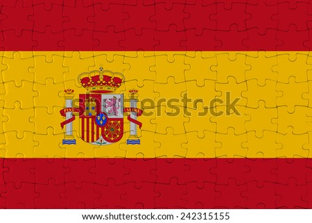 Jigsaw Puzzle Flag of Spain - stock photo