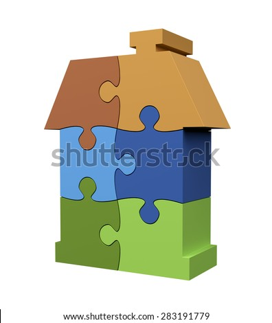 Jigsaw Puzzle House on White Background with clipping path - stock photo