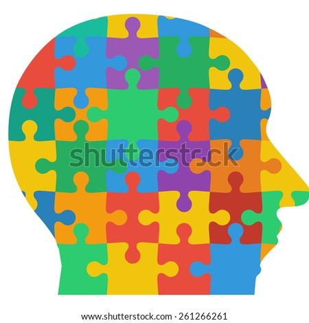 Jigsaw puzzle human head, colored background.  illustration.