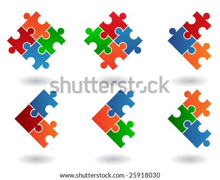 Jigsaw puzzle icons isolated on a white background - stock photo
