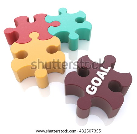 Jigsaw Puzzle in the design of information related to abstraction goals. 3d illustration - stock photo