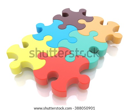 Jigsaw Puzzle in the design of the information associated with abstraction - stock photo