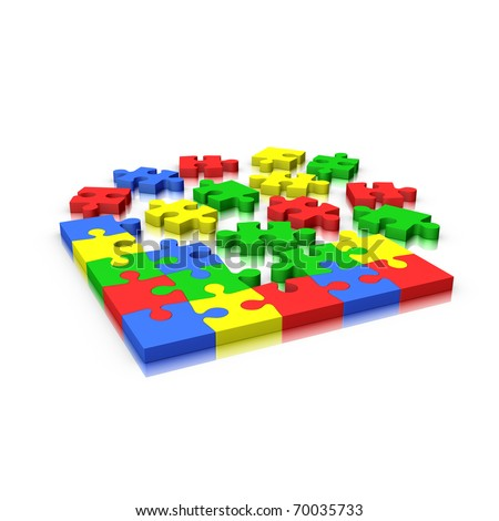 Jigsaw puzzle incomplete isolated on white (red yellow green and blue) - stock photo