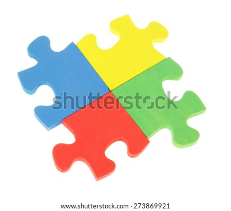 Jigsaw Puzzle isolated on white - stock photo