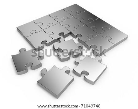 Jigsaw puzzle isolated on white background - stock photo