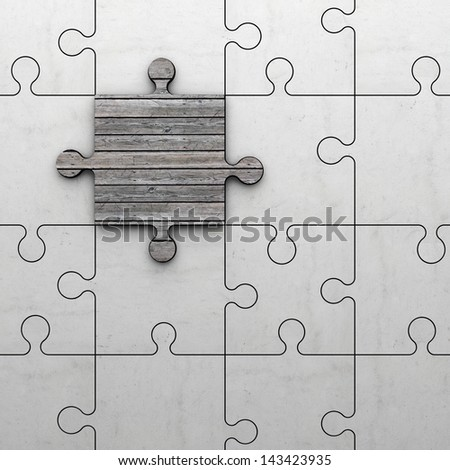 jigsaw puzzle made of stone and one piece made of wood - stock photo
