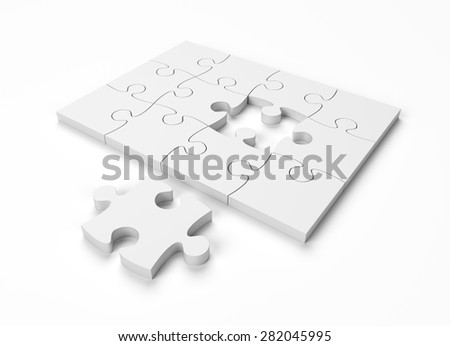 Jigsaw Puzzle Monochrome on White Background with clipping path
