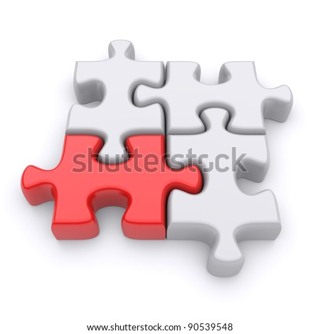 Jigsaw puzzle on a white background. 3d image