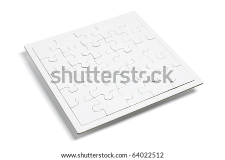 Jigsaw Puzzle on Isolated White Background - stock photo
