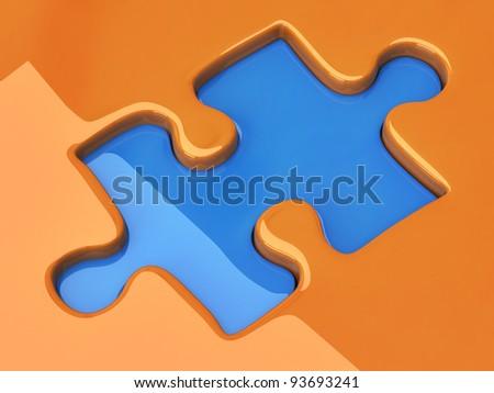 Jigsaw puzzle piece - stock photo