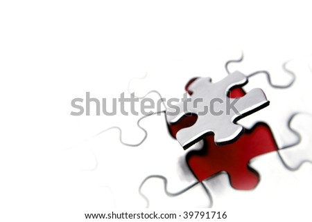 Jigsaw puzzle. Piece above gap. Copy space - stock photo