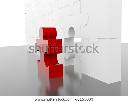 Jigsaw puzzle piece in red on white background - stock photo