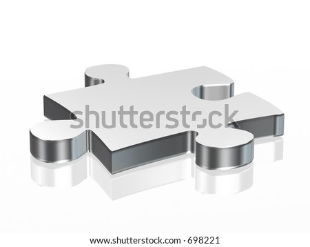 Jigsaw puzzle piece in silver over a white background - stock photo