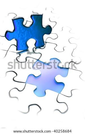 Jigsaw puzzle piece next to gap. Blue tone. Copy space. - stock photo