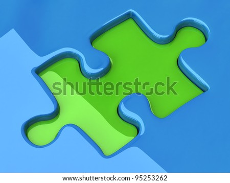 Jigsaw puzzle piece on blue background